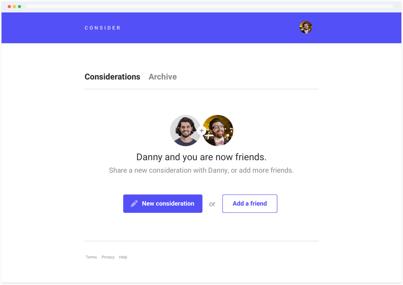 Example screenshot of adding a friend on Consider